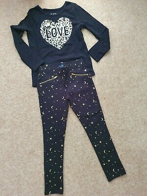 Childrens Place Outfit Age 8 Sequin Top & Matching Gold / Black Soft Jeans