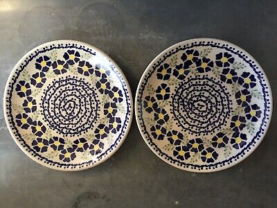 "2 NEW PLATES SALAD / DESSERT Boleslawiec Polish Pottery 7.25"" BLUE DAISY FLOWERS"
