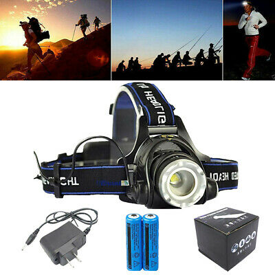 990000LM Zoomable Headlamp Rechargeable LED Headlight Flashlight+Battery Set+Box