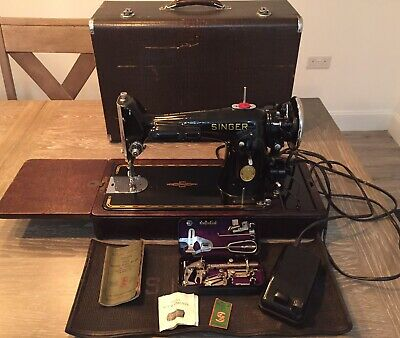 Vintage Singer 201K-2 Potted Electric Motor Sewing Machine - Semi Industrial