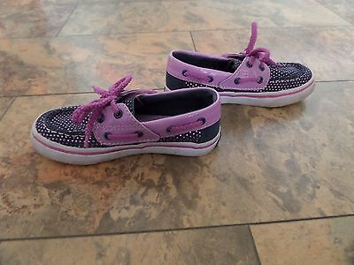 GORGEOUS Girl's SPERRY Topsider Deck Shoes Navy & Purple UK 9.5 VGC