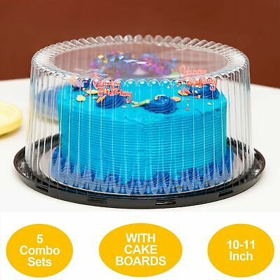 """10-11"""" Plastic Disposable Cake Containers Carriers with Dome Lids and Cake Bo..."""