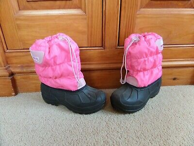 WORN ONCE! Girl's ROC-A-BOUTS Snow Boots Pink & Black Sherpa Lined UK 13