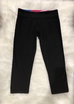 Ivivva Black Rythmic Cropped Reversible Quilted Band Leggings Size 14