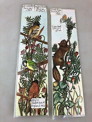 Vintage Bookmarks - 1982 - Colour - Birds & Butterflies - 2 Different