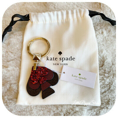 Kate Spade Leather Stacked Spades Key Fob In Black Cherry