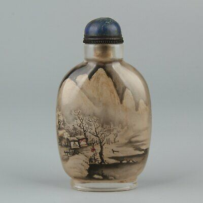 Chinese Exquisite Handmade people landscape Glass Inside painting snuff bottle