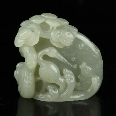 Chinese Exquisite Hand-carved Crane pine carving Hetian jade statue