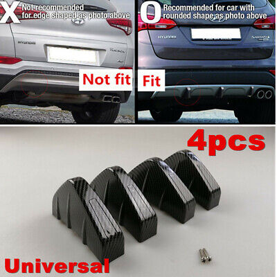4x Carbon Fiber Rear Bumper Lower Air Diffuser Fin Spoiler Protector For Car SUV