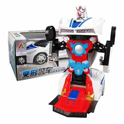 Transforming Robot Police Car Toy with Lights and Sounds Kids Birthday Gift
