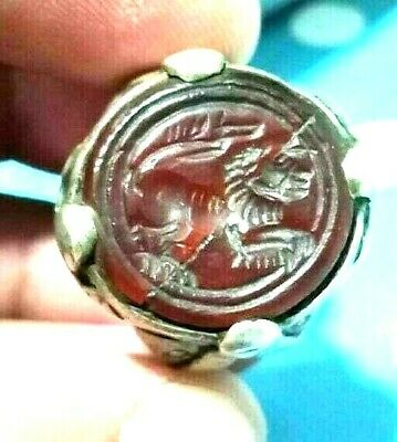 Ancient Carnelian Intaglio Lion Engraved Sterling Silver Signet Roman Ring 8US