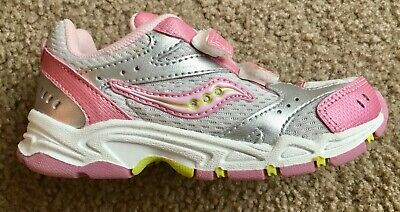 New Saucony Toddler Girls Shoes Pink Silver & Florescent Green Size 7