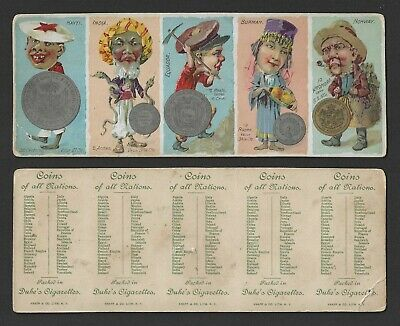 N72 Duke Tobacco Cards - Coins of All Nations Series - 5 Card Uncut Panel #3