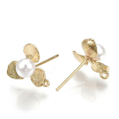 10x Brass Flower Earring Posts w/ ABS Pearl Hang Loop 18K Gold Plated Studs 11mm