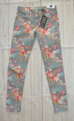 Gap Kids Girls Super Skinny Jeans Gray Floral Roses Mid Rise Stretch Size 12 NWT