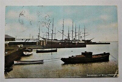 Antique postcard Shipping at Williamstown Victoria c 1907 with shipping.