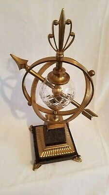 Vintage Solid Brass Celestial Armillary Paint Metal Base Cut Glass Sphere Heavy