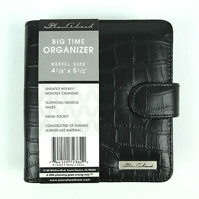 """Weekly Monthly Organizer: To Do, Phone Numbers, Address 6"""" Black Faux Leather"""