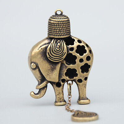 Collectable China Old Bronze Hand-Carved Lovely Elephant Delicate Decor Pendant