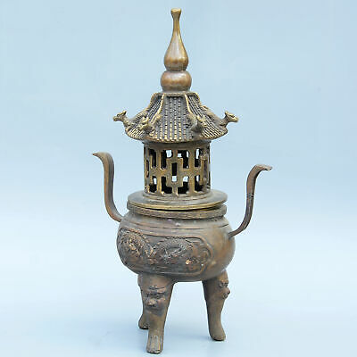 Collectable China Old Bronze Hand-Carved Myth Dragon & Lion Auspicious Censer