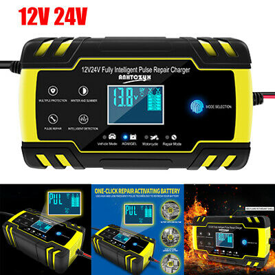 Portable Intelligent Car Battery Charger 8 Amp Pulse Repair Starter 12/24V Lorry