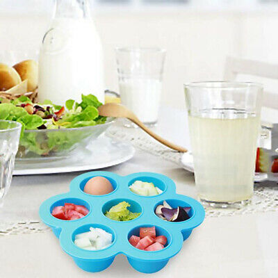 7 Grid Silicone Egg Poachers Mold Reusable Kids Food Storage Container Ice Tray
