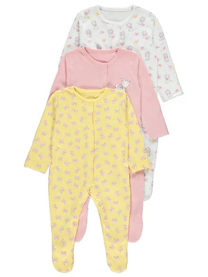 Disney Baby Girls The Aristocats Marie Floral Sleepsuits 3 Pack Brand New
