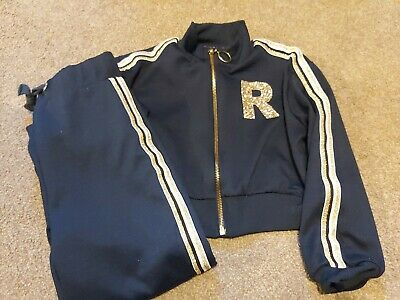 Girls river Island Tracksuit age 5-6 years. Cropped jacket navy and gold