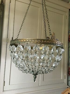 Large Ornate French Antique Crystal And Gilt Brass  Basket Chandelier