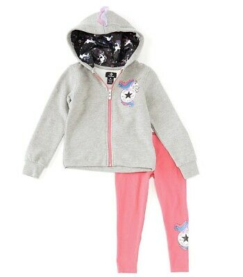 converse Little Girls Size 5 Unicorn Hoodie & Leggings Set