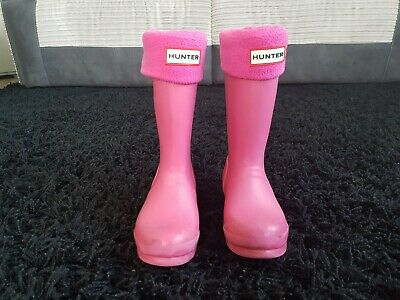 Girls Pink Hunter Wellies with socks boots Size 12