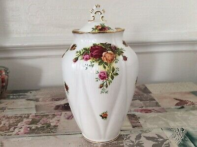 Royal Albert Old Country Roses Lidded Vase. 8 Inches High.