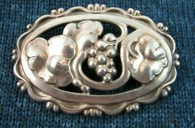 Georg Jensen Sterling Silver Brooch Art Nouveau Grapevine Early Mark No. 177