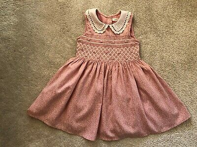 Next Girls 2-3 Years Pink Smocked Dress White Collar Fully Lined Full & Flared