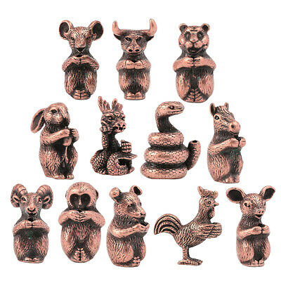 Copper Chinese Shengxiao Zodiac Animals Statute Wealth Lucky Fortune Collections