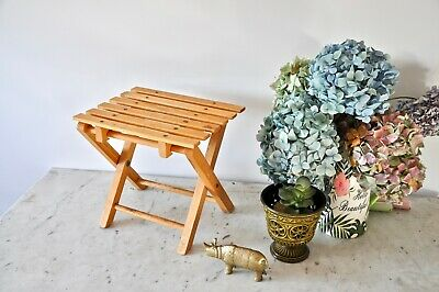Vintage small wooden folding table or plant stand from the 1970s