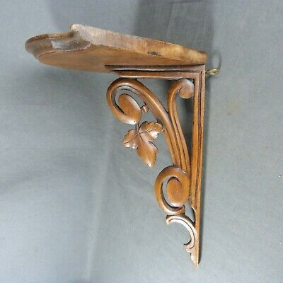 French Wooden Wallnut Carving Shelf Corner Bracket Console Wall Rack