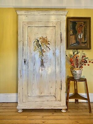 Vintage Painted Pine Armoire With Inlaid Bird Design