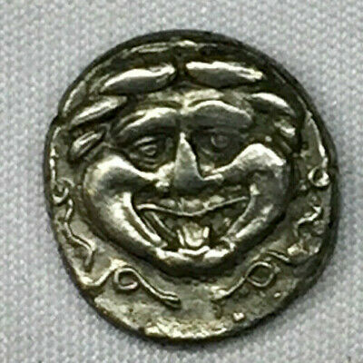Ancient Greek Gorgoneion from Mysia Parion 4th century BC, AR hemidrachm VF