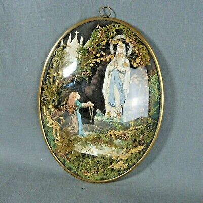 French Antique Holy Curved Glass Frame Lourdes Virgin Mary St Bernadette 19th c.