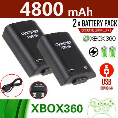2 Pack Battery & Charger Cable Rechargeable Kit for Xbox 360 Wireless Controller