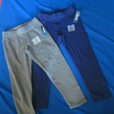 NEW 2 pair Old Navy Fleece Leggings tapered leg Navy Blue & Grey--Girls S 6/7