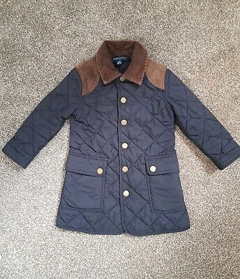 Girls Polo Ralph Lauren Navy Quilted Jacket suede shoulder detail age 3 years