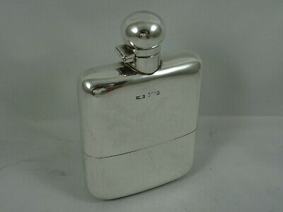 LARGE & HEAVY solid silver HIP FLASK, 1919, 259gm