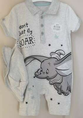 Disney Baby Boys Dumbo Striped Romper and Hat Outfit 0-18 Months BNWT