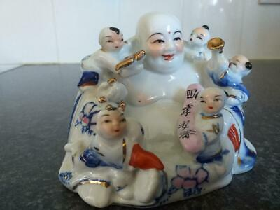 vintage porcelain Chinese laughing Buddha with calligraphy
