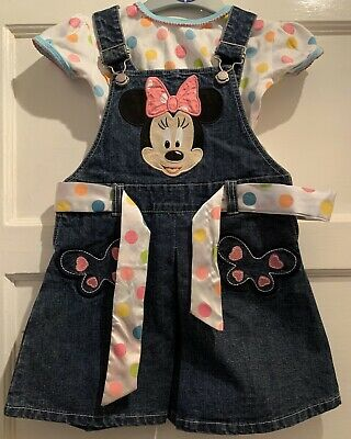 Official Disney Minnie Mouse Girls Jean Dress With Matching Polka Dot Top 3/4yrs