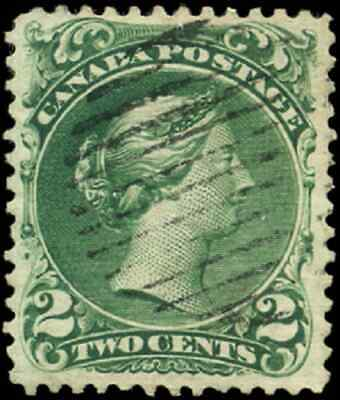 Canada #24 used VF 1868 Queen Victoria 2c green Large Queen CV$130.00