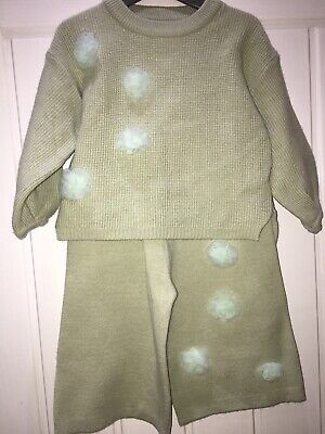 Baby Girls Tracksuit 2 Years Knitted Knit Flower 2 Years Flowers Winter