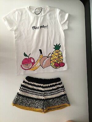 Zara Girls Outfit 2 Piece Set Knitted Shorts T Shirt Short Sleeve Age 10-12yrs